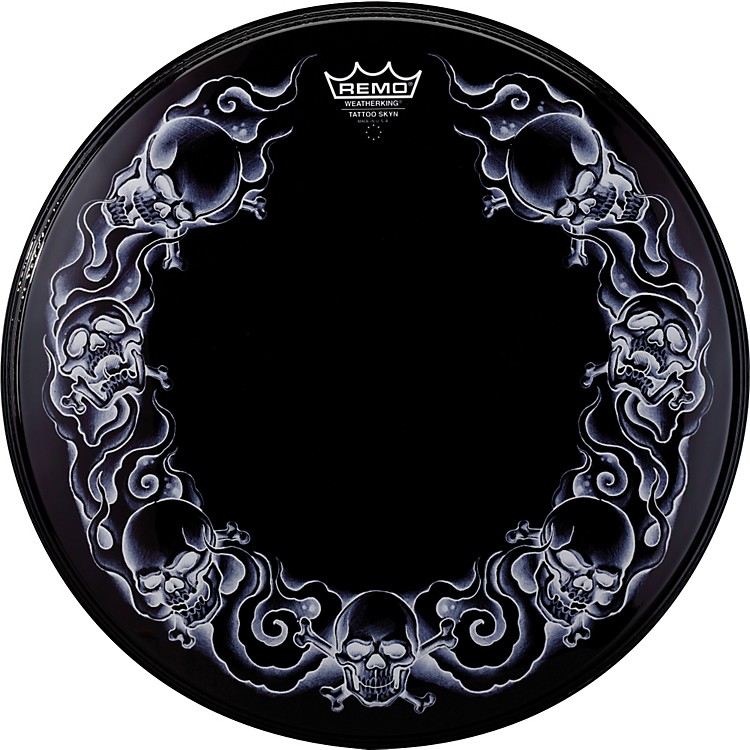 RemoPowerstroke Tattoo Skyn Bass Drumhead, Black22 in.Skulls