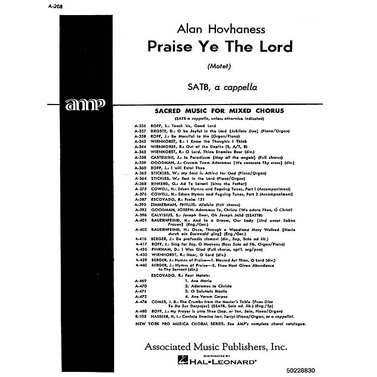 AssociatedPraise Ye The Lord  Motet A Cappella SATB composed by A Hovhaness