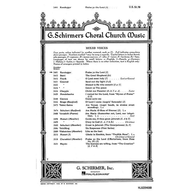 G. SchirmerPraise Ye the Lord (Psalm 150) (SATB with soprano solo) SATB composed by Alberto Randegger