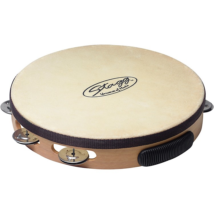 StaggPre-Tuned Wood Tambourine With Single Row Jingles10 in.Natural