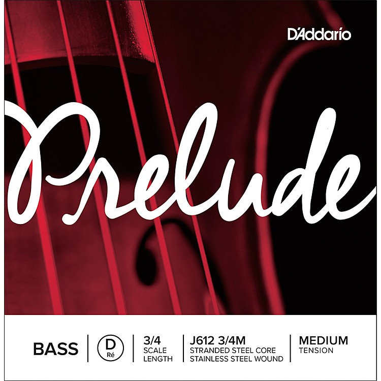 D'Addario Prelude Series Double Bass D String 1/2 Size