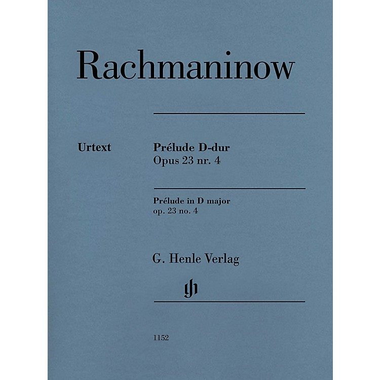 G. Henle VerlagPrelude in D Major Op. 23 No. 4 Henle Music Softcover by Rachmaninoff Edited by Dominik Rahmer