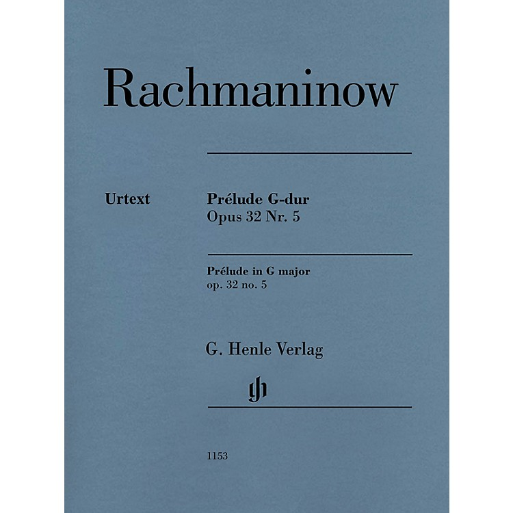 G. Henle Verlag Prelude in G Major Op. 32 No. 5 Henle Music Folio by Rachmaninoff Edited by Dominik Rahmer (Advanced)
