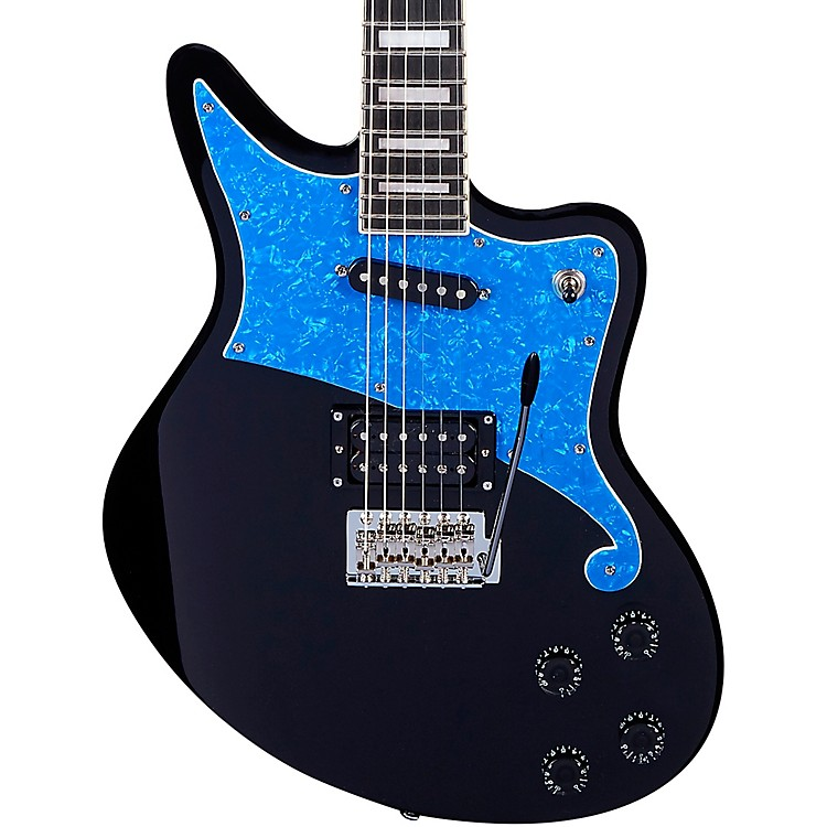 D'Angelico Premier Series Bedford Electric Guitar with Duncan Designed Pickups and Tremolo Tailpiece Black