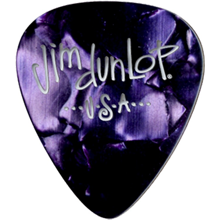 Dunlop Premium Celluloid Classic Guitar Picks 1 Dozen Purple Pearloid Medium