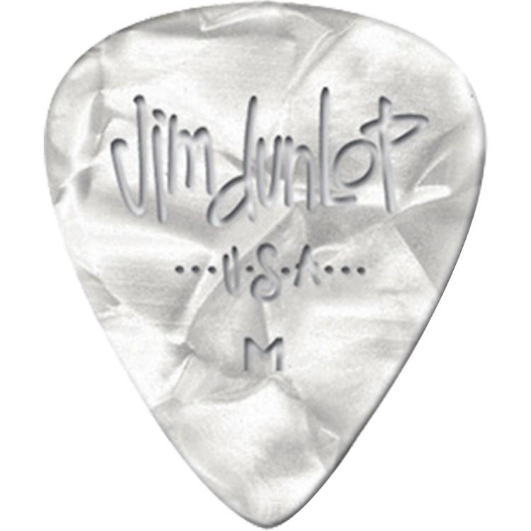 DunlopPremium Celluloid Classic Guitar Picks 1 DozenWhite PearloidThin