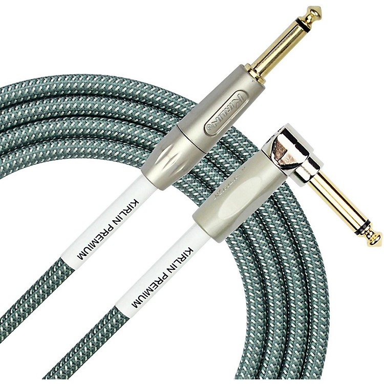KIRLIN Premium Plus Straight to Right Angle Instrument Cable, Olive Green Woven Jacket 10 ft.