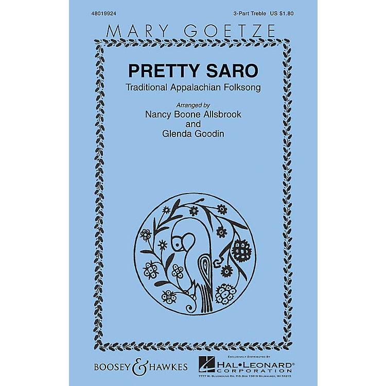 Boosey and Hawkes Pretty Saro (Mary Goetze Series) 3 Part Treble arranged by Nancy Boone Allsbrook