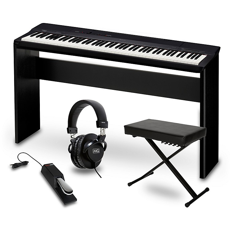 CasioPrivia PX-160BK Digital Piano with CS-67 Stand, Sustain Pedal, Deluxe Keyboard Bench and Headphones