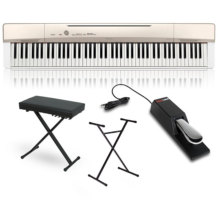 Casio Privia PX-160GD Digital Piano with Stand Sustain Pedal and Deluxe Keyboard Bench