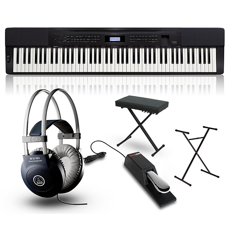 CasioPrivia PX-350 Digital Piano Black with Stand, Sustain Pedal, Deluxe Keyboard Bench and Headphones