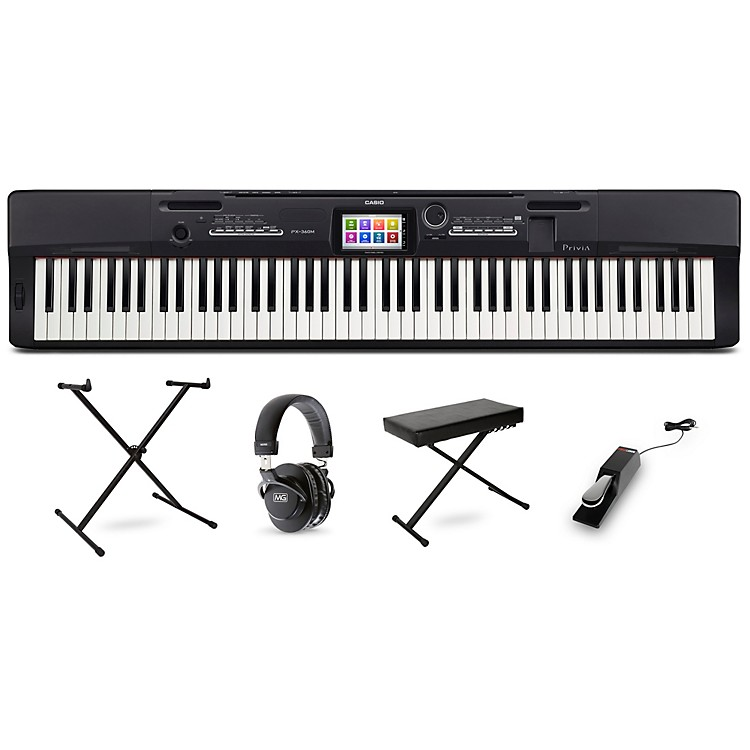 Casio Privia PX-360 Digital Piano with Stand Sustain Pedal Deluxe Keyboard Bench and Headphones