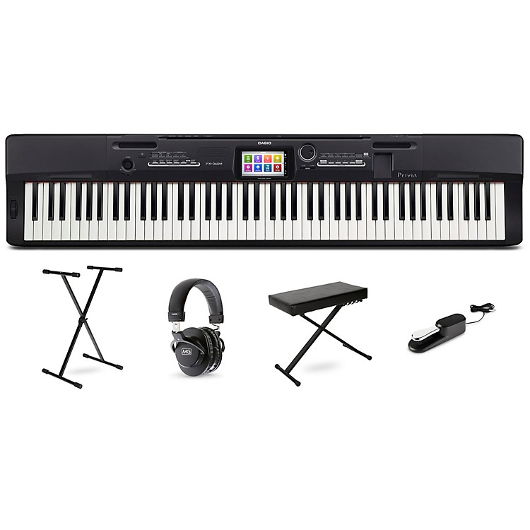 CasioPrivia PX-360 Digital Piano with Stand Sustain Pedal Deluxe Keyboard Bench and Headphones