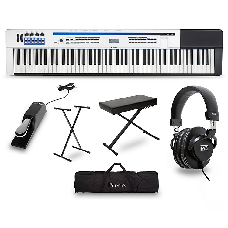 CasioPrivia PX-5S Pro Stage Piano with Stand, Sustain Pedal, Deluxe Keyboard Bench, Headphones and Gig Bag