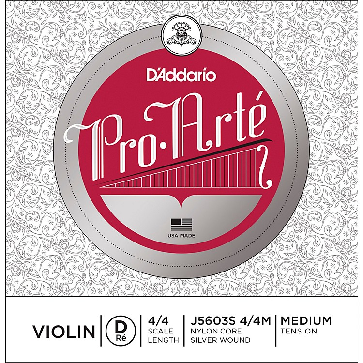 D'Addario Pro-Arte Series Violin D String 4/4 Size Light Silver
