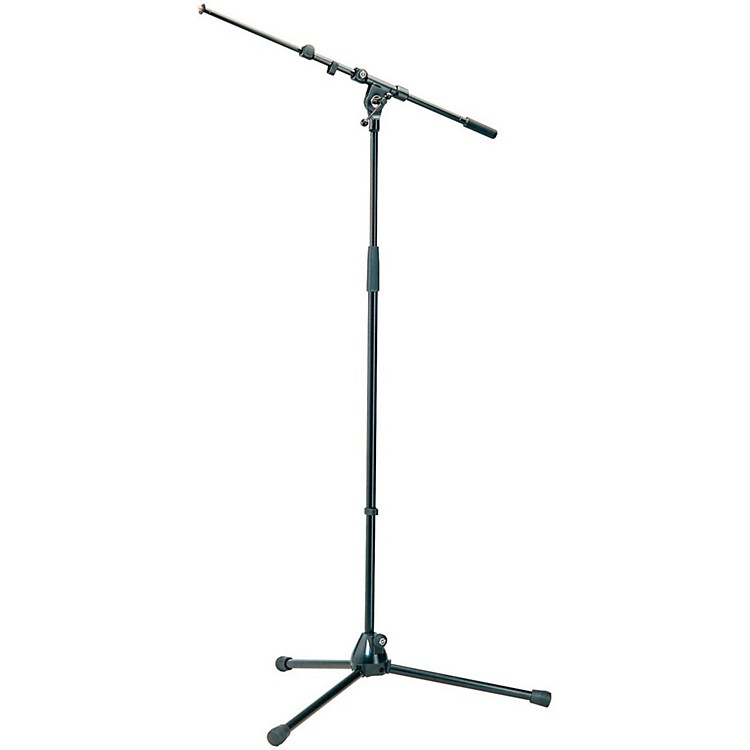 K&M Professional Top-Line Tripod Microphone Stand with Telescoping Boom Arm - Black Black