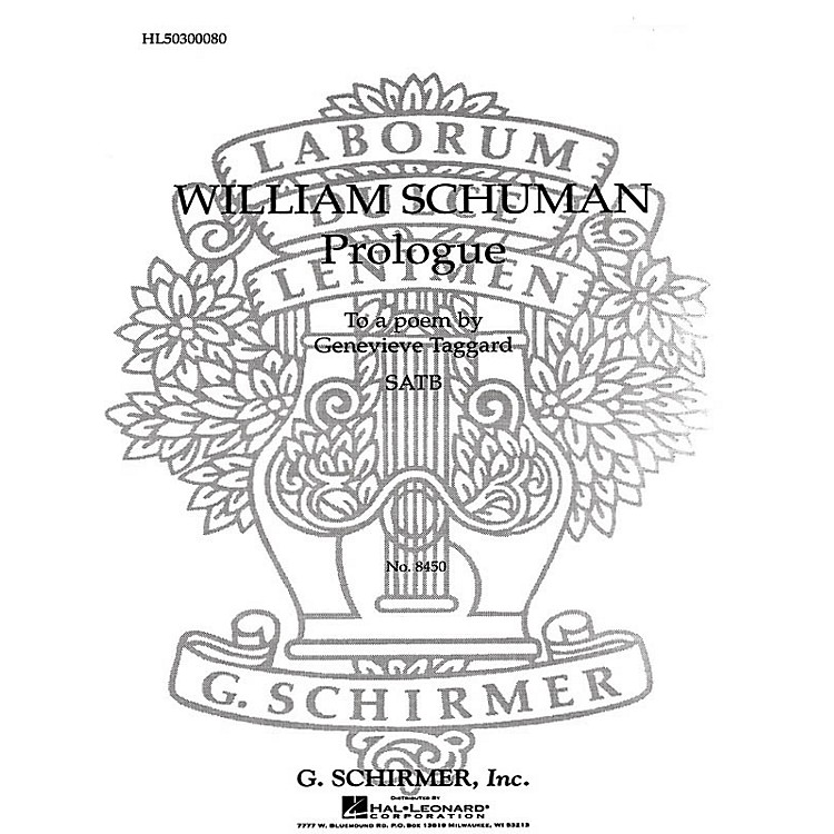 G. Schirmer Prologue to a Poem SATB composed by William Schuman