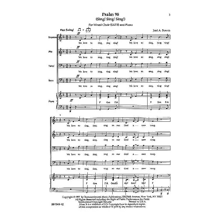 Transcontinental MusicPsalm 98 (Sing! Sing! Sing!) SATB composed by Jose Bowen