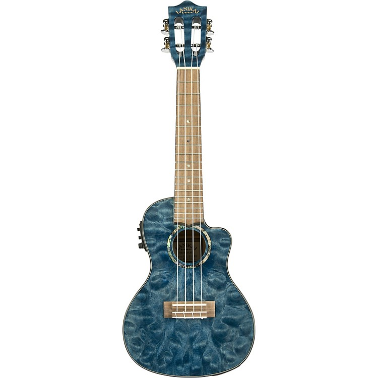 LanikaiQM-CEC Quitled Maple Concert Acoustic-Electric UkuleleTransparent Blue