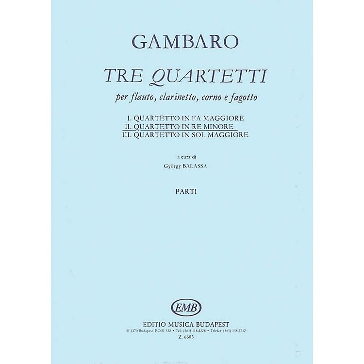 Editio Musica BudapestQuartet in D Minor for Flute, Clarinet, Horn, Bassoon EMB Series Composed by Giovanni Battista Gambaro