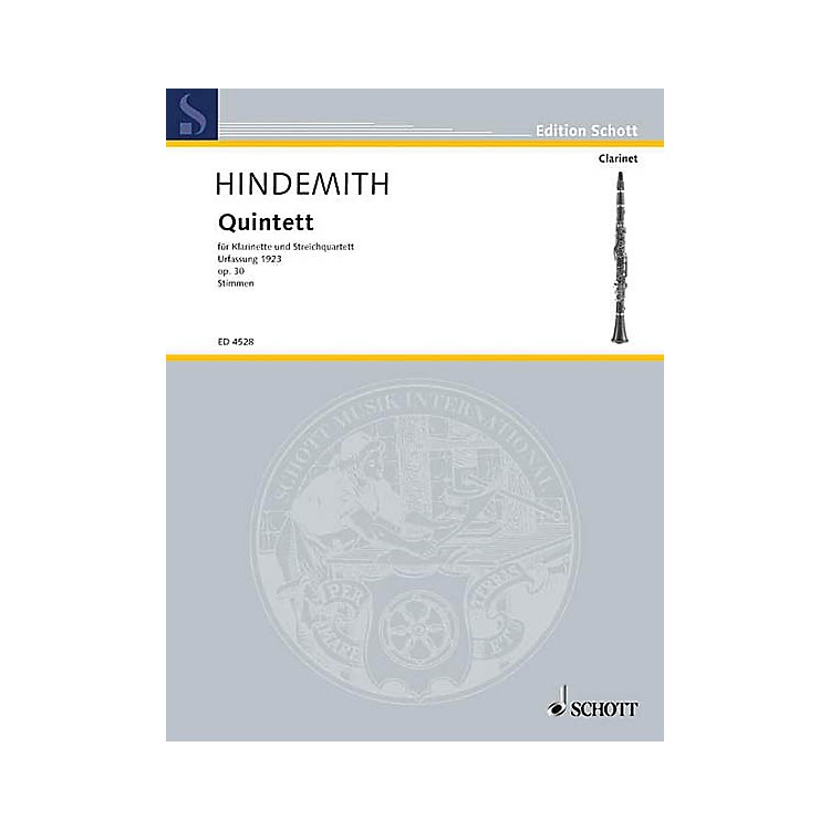SchottQuintet No. 1 Fassung, Op. 30 (Set of Parts) Schott Series Composed by Paul Hindemith