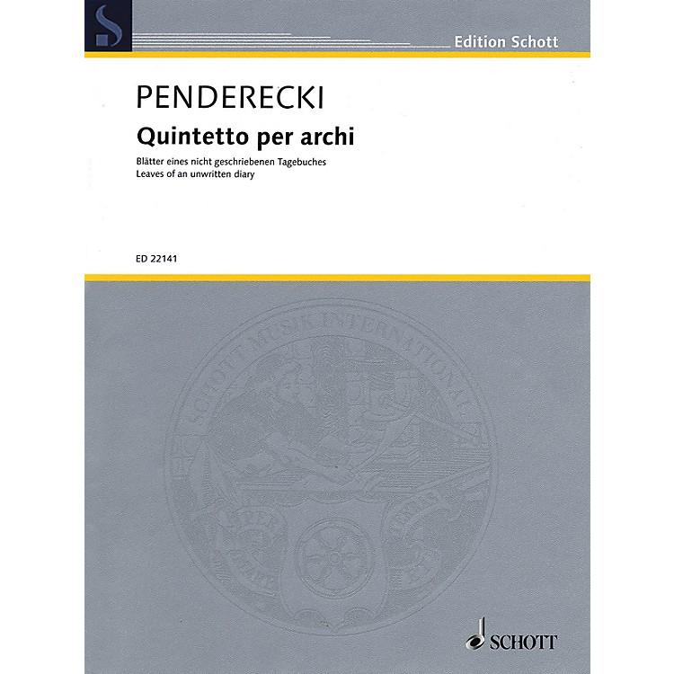 SchottQuintetto per archi String Ensemble Series Composed by Krzysztof Penderecki
