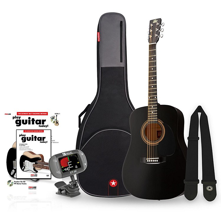 Rogue RA-090 Dreadnought Acoustic Guitar Bundle Black