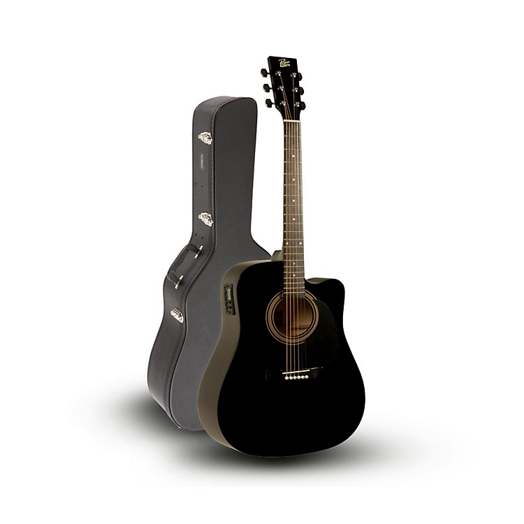 Rogue RA-090 Dreadnought Cutaway Acoustic-Electric Guitar, Black with Road Runner RRDWA Case