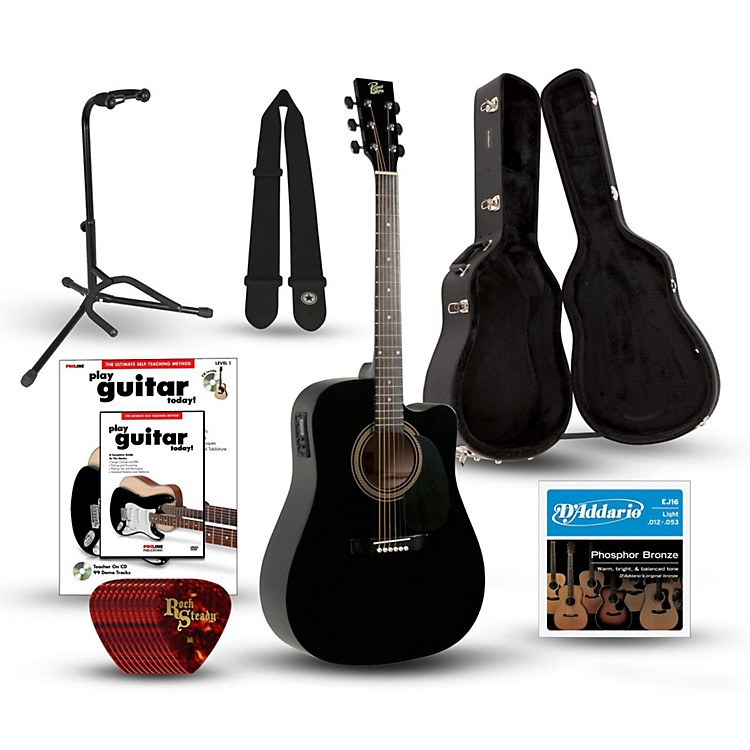 rogue ra 090 dreadnought cutaway acoustic electric guitar deluxe bundle music123. Black Bedroom Furniture Sets. Home Design Ideas