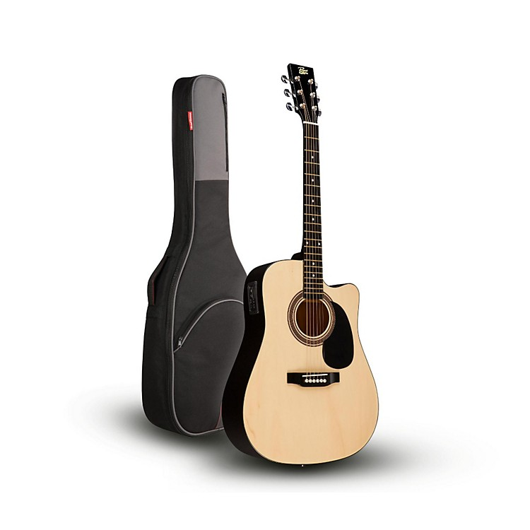 Rogue RA-090 Dreadnought Cutaway Acoustic-Electric Guitar, Natural with Road Runner RR1AG Gig Bag