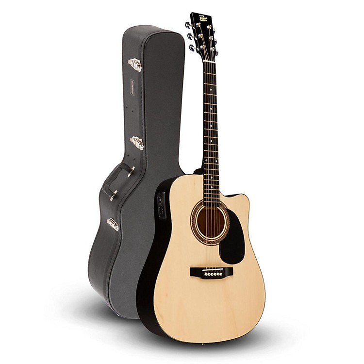 87ea6cffd0 Rogue RA-090 Dreadnought Cutaway Acoustic-Electric Guitar, Natural with  Road Runner RRDWA