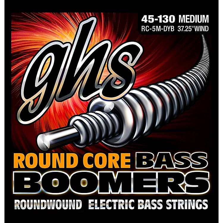 GHS RC-5MDYB Round Core Boomers Medium 5-String Electric Guitar Strings (45-130)