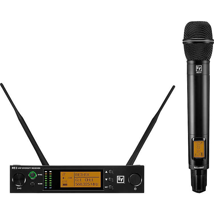 Electro-VoiceRE3 Wireless Handheld Set with ND86 Dynamic Supercardioid Vocal Microphone Head 488-524MHz653-663 MHz