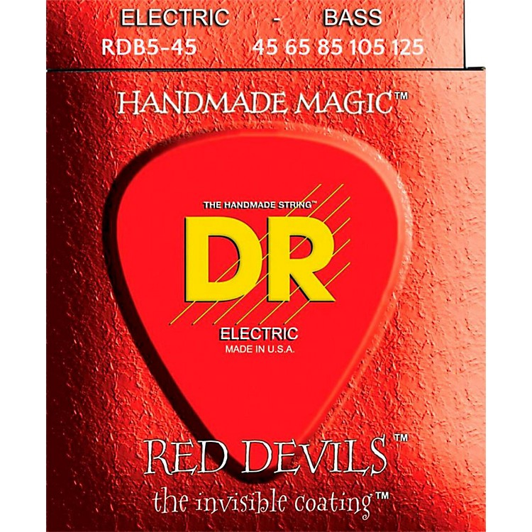 DR StringsRED DEVILS Red Coated Medium 5-String Bass Strings (45-125)
