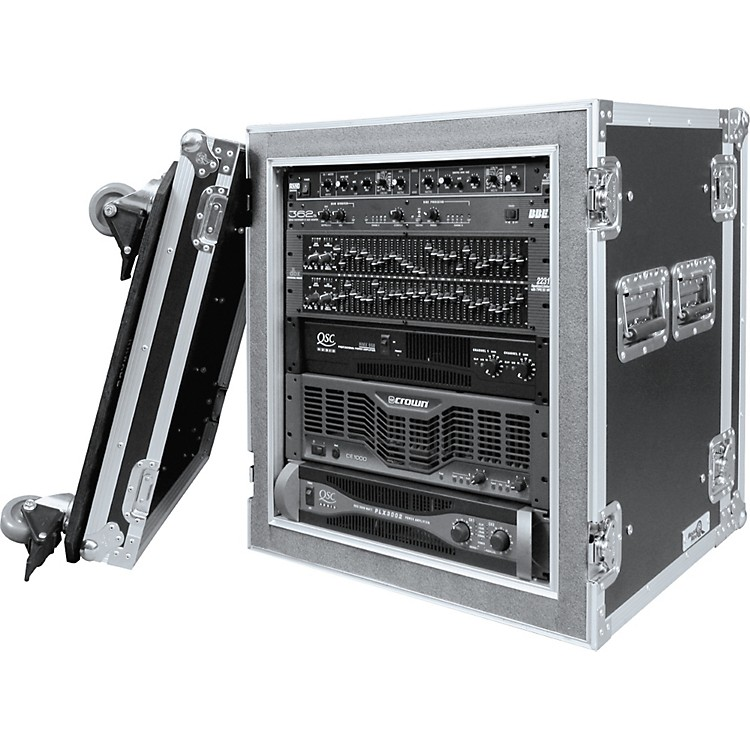 Road Ready RR12UADSW 12U Deluxe Shock Mount Amplifier Rack Case Black