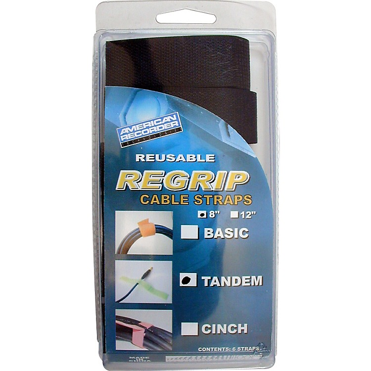 American Recorder TechnologiesReGrip Reusable Cable Strap 6-Pack8 In Tandem StyleBlack