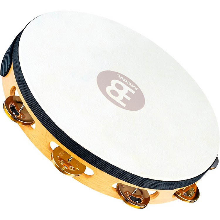 MeinlRecording-Combo Goat-Skin Wood Tambourine One Row Dual Alloy JinglesSuper Natural