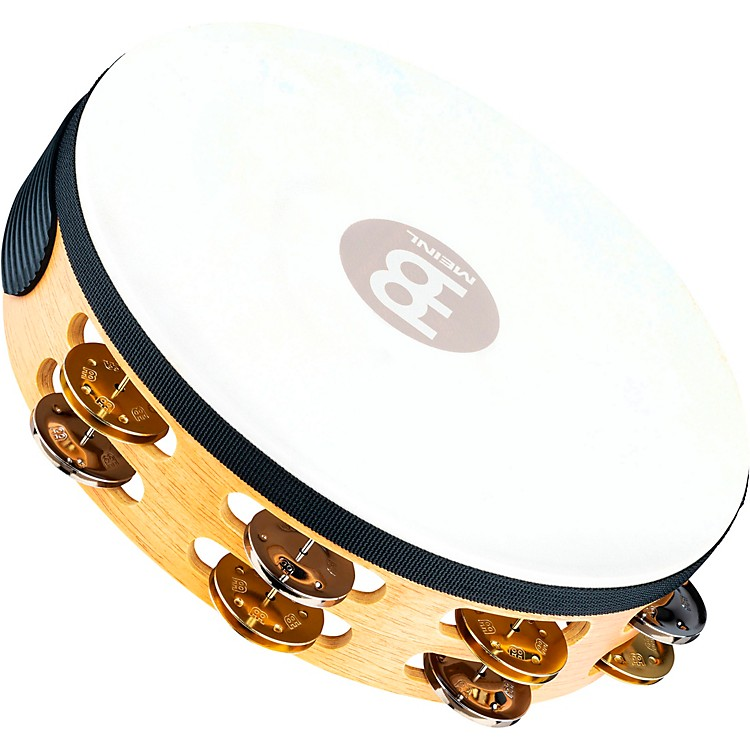 Meinl Recording-Combo Goat-Skin Wood Tambourine Two Rows Dual Alloy Jingles Super Natural