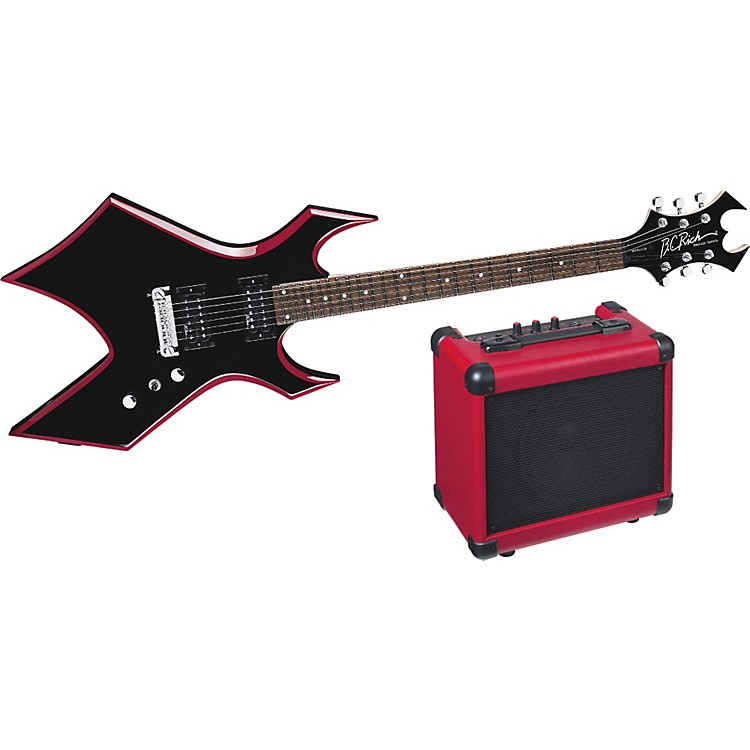 B.C. RichRed Bevel Warlock Electric Guitar and Amp Pack