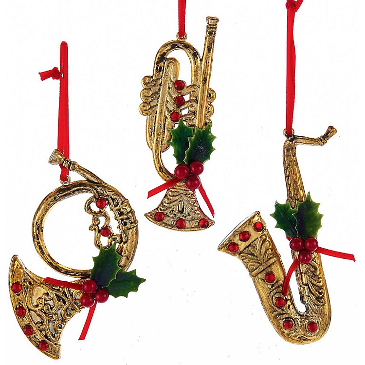 Kurt S. AdlerRed/Gold Musical Instrument With Holly/Red Gem Ornaments 3/Assorted