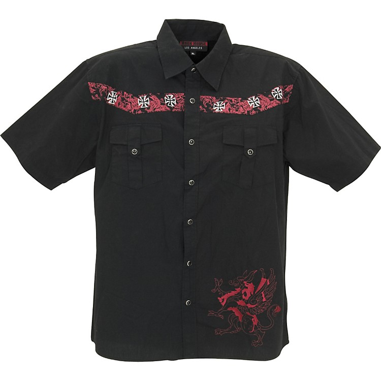 Rock House Los AngelesRed Griffin Short Sleeve Buttoned ShirtBlackX Large