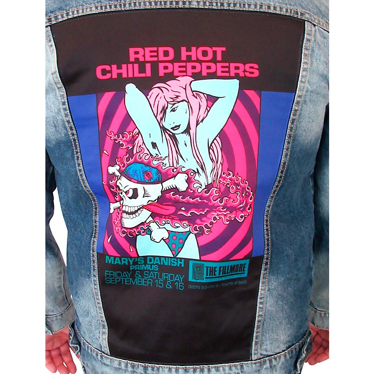 Dragonfly Clothing Red Hot Chili Peppers - Bikini Girl - Mens Denim Jacket Medium