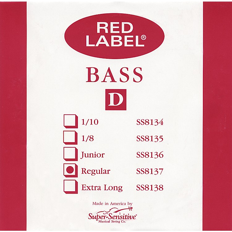 Super Sensitive Red Label 3/4 Size Double Bass Strings 3/4 D String