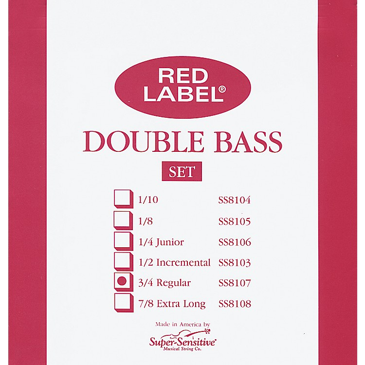 Super Sensitive Red Label 3/4 Size Double Bass Strings 3/4 Set