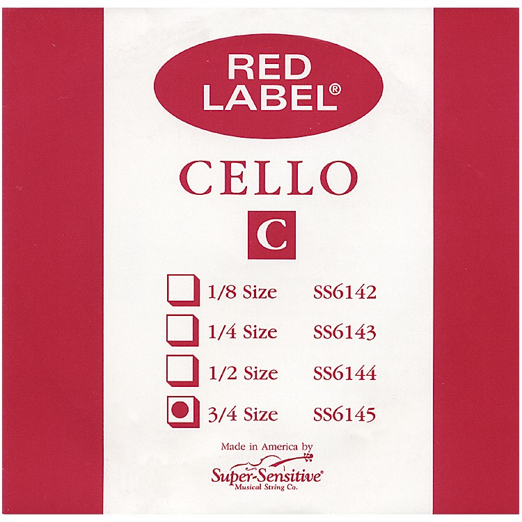 Super Sensitive Red Label Cello C String  3/4