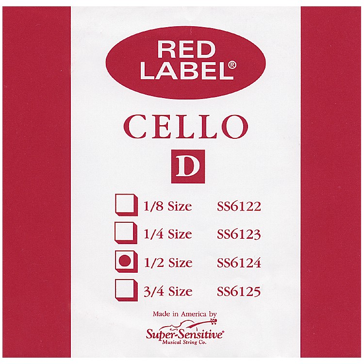 Super Sensitive Red Label Cello D String  1/2