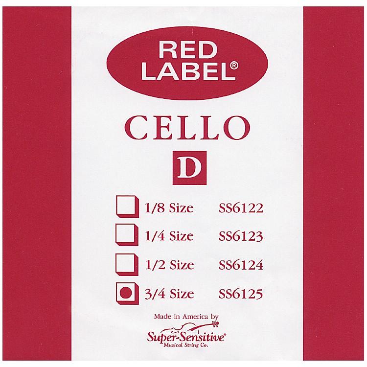 Super SensitiveRed Label Cello D String3/4