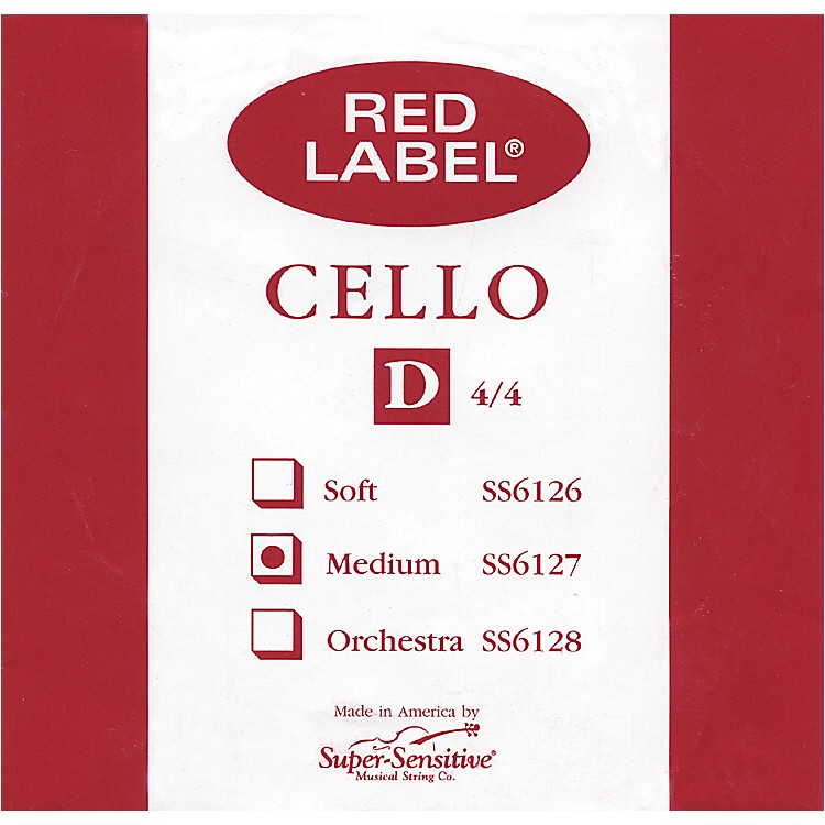 Super SensitiveRed Label Cello D String4/4