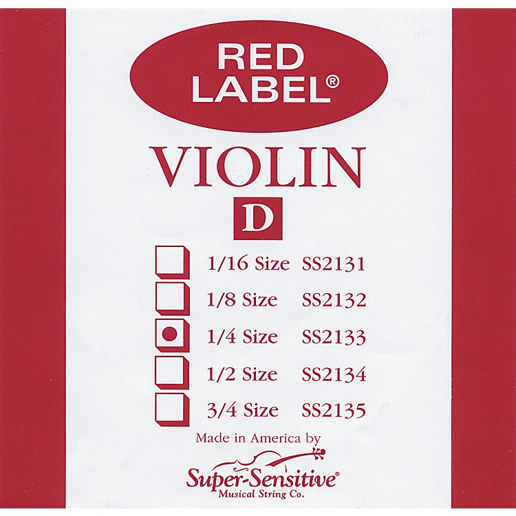 Super Sensitive Red Label Violin D String  3/4