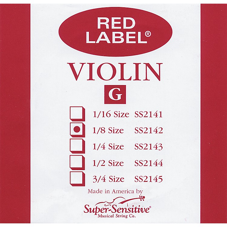 Super Sensitive Red Label Violin G String  1/8